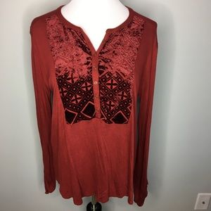 Lucky Brand Rust Color W/ Velour Top - Size L